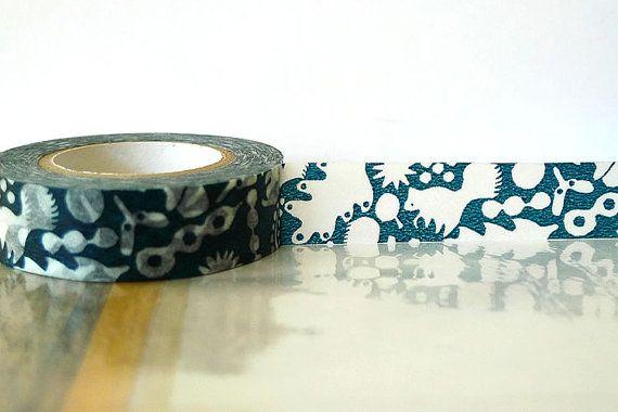 Japanese Washi Tape  Dark TEAL Blue Squirrel Acorn by PrettyTape, $3.90
