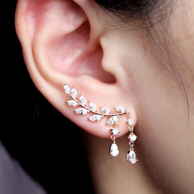 """Shimmery crystal vine earrings to """"plant"""" in your lobes. 