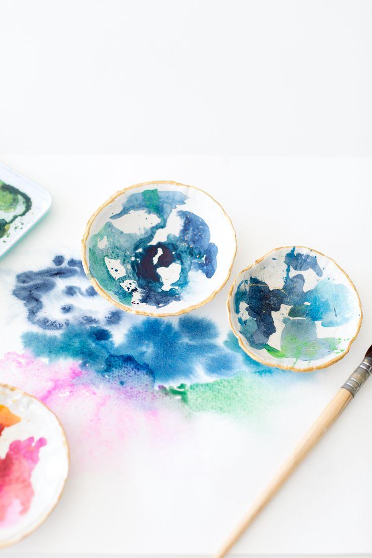 Watercolor catch all dish DIY
