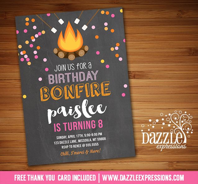 Printable Bonfire Chalkboard Birthday Invitation | S'mores Party | Roast and Toast | Camping | Glamping | Beach Bonfire Party | Girls Summer or Fall Party | FREE thank you card included | Printable Matching Party Package Decorations Available! Banner | Signs | Labels | Favor Tags | Water Bottle Labels and more! www.dazzleexpressions.com