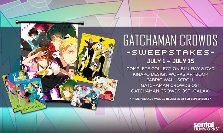 The Gatchaman Gang is waiting for you! But first, relive the action of Crowds! Head to http://www.sentaifilmworks.com/news/gatchaman-crowds-sweepstakes and enter to win a cool Gatchaman Crowds prize package! XD