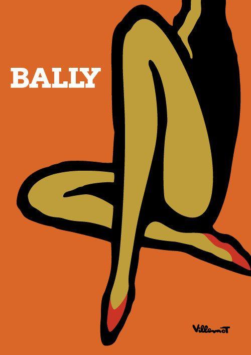 Villemot patas Bally Poster - cartel Original de colores impresión del arte…