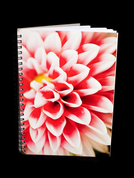 Dahlia Notebook  A5 size 90 blank pages pink red by ErinnaImagery, $15.00