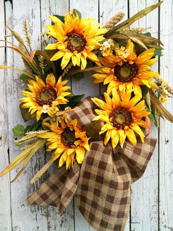 Fall Wreaths Sunflower Wreath Fall Door di marigoldsdesigns