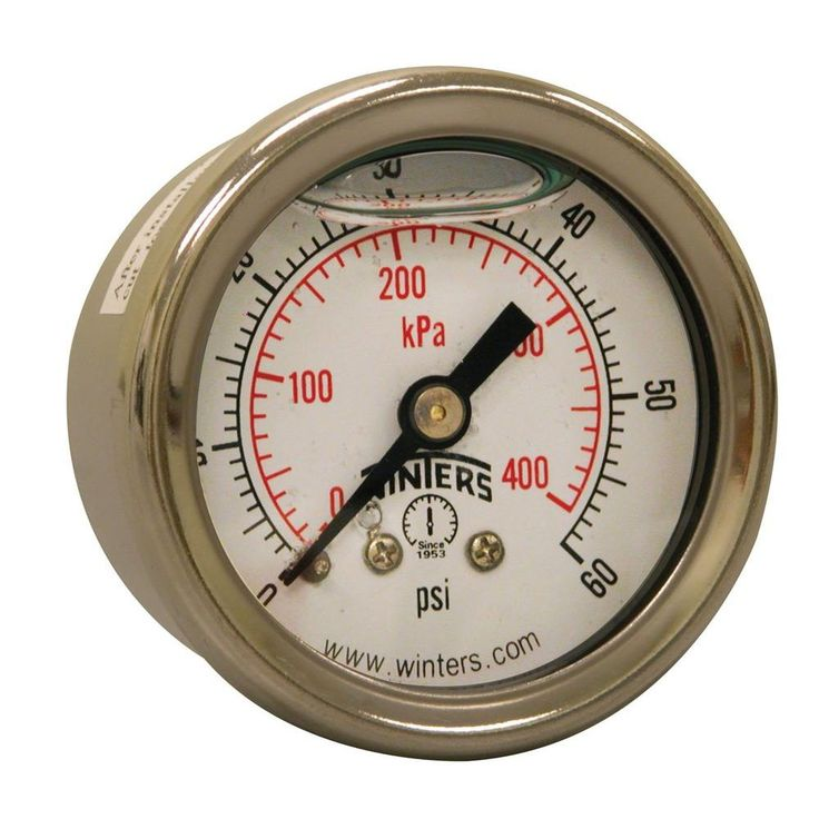 PFQ Series 1.5 in. Stainless Steel Liquid Filled Case Pressure Gauge with 1/8 in. NPT CBM and Range of 0-60 psi/kPa