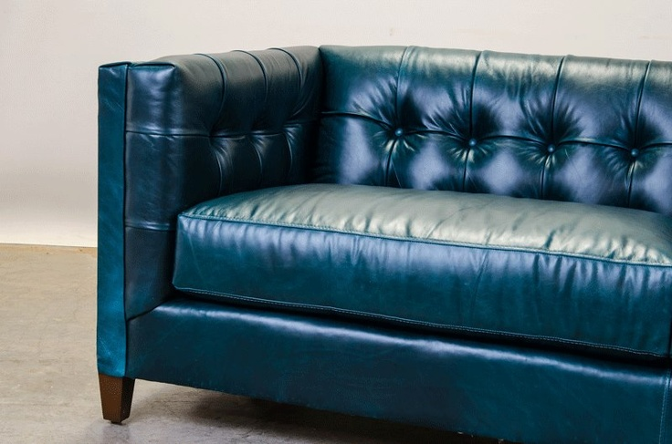 Check out our arden sofa in vibrant teal leather cococo for Teal leather couch