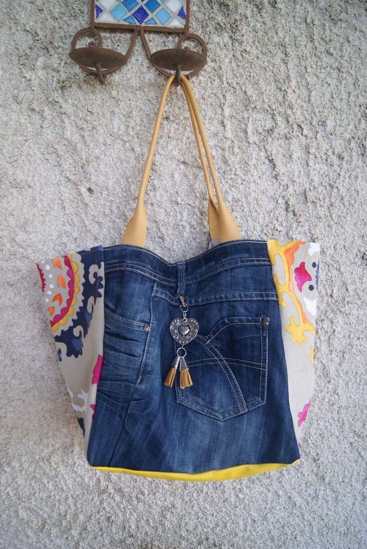 sac cabas en jean et tissu mandala fond beige : Sacs à main par mucyclone