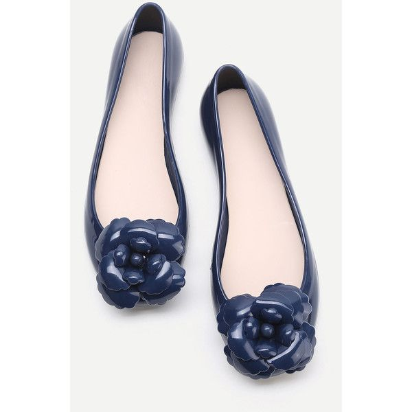 SheIn(sheinside) Navy Flower Embellished Ballet Flats ($24) ❤ liked on Polyvore featuring shoes, flats, round toe ballet flats, navy flats, embellished flats, navy blue flats and navy blue flat shoes