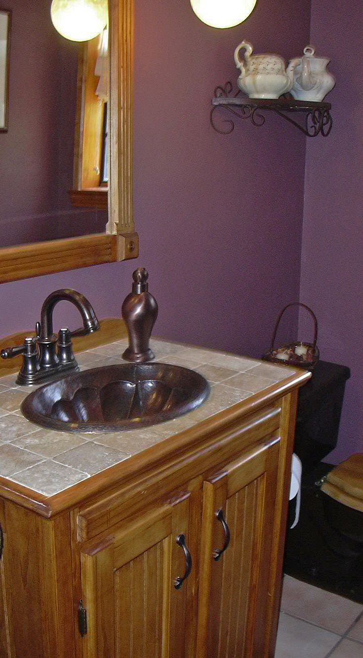 A Customer Remodeled Her Bathroom With Our Dark Smoke Copper Sink And  Bronzed Faucet. Nice