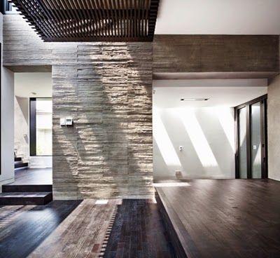 Modern Family House Design with Black Wooden Flooring Tile