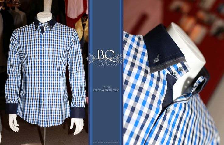 Check shirt with double collar for casual occasions. http://www.raatalistudio.fi/