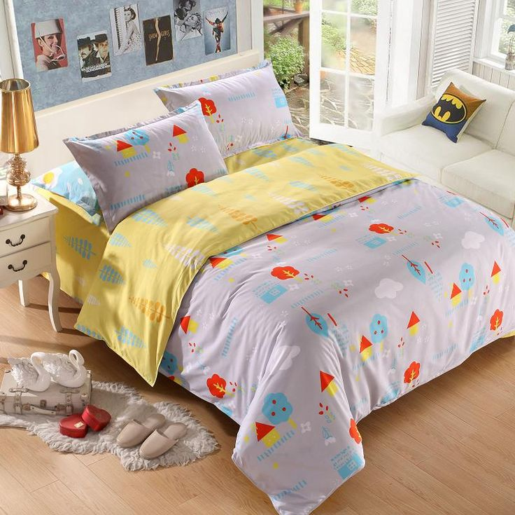 NoEnName New design bedding 3 or 4 PCS cartoon home textile bedding set double queen with large bedding sheets #Affiliate