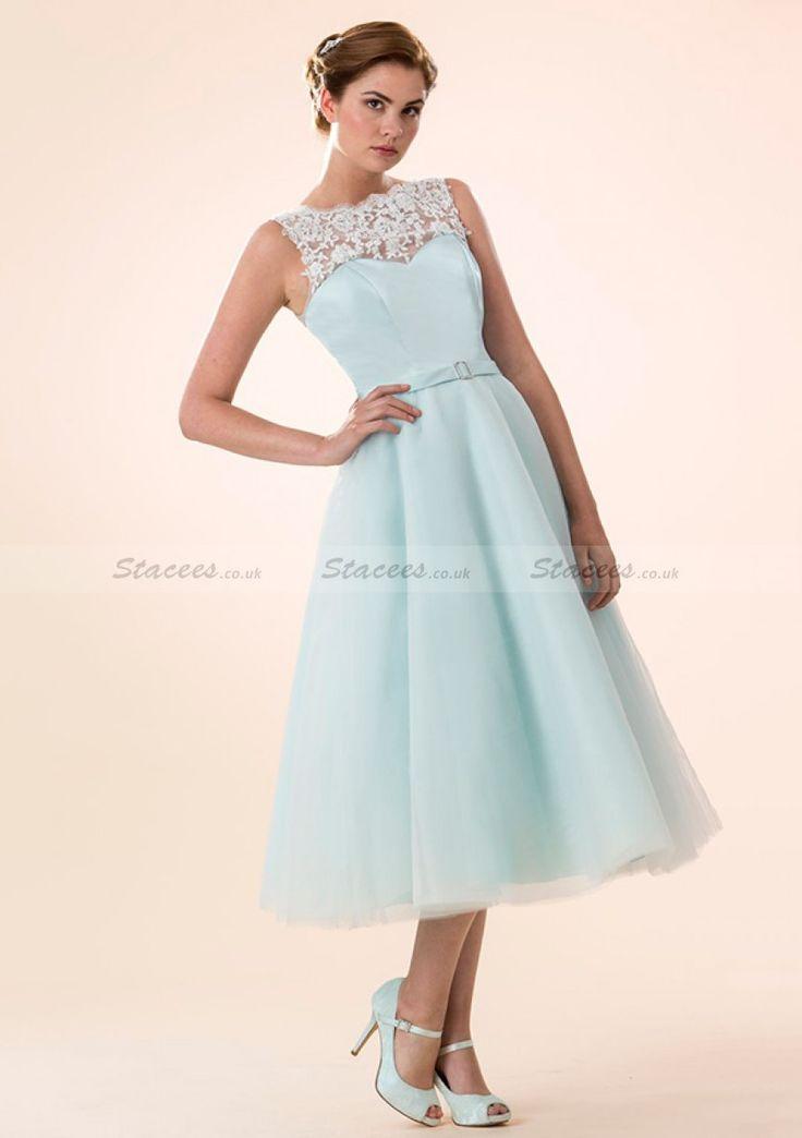 A-Line/Princess Bateau Ankle-Length Tulle Bridesmaid Dresses With Lace Waistband