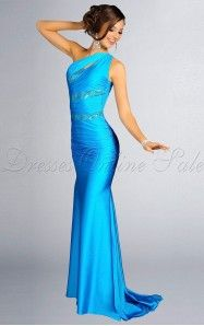 Sheath Floor-length One Shoulder Royal Blue Dress
