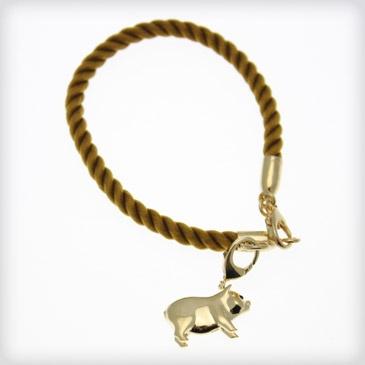 Babette Wasserman Babette Wasserman 18ct Gold Plated Cord Charm Bracelet at Cotton & Gems