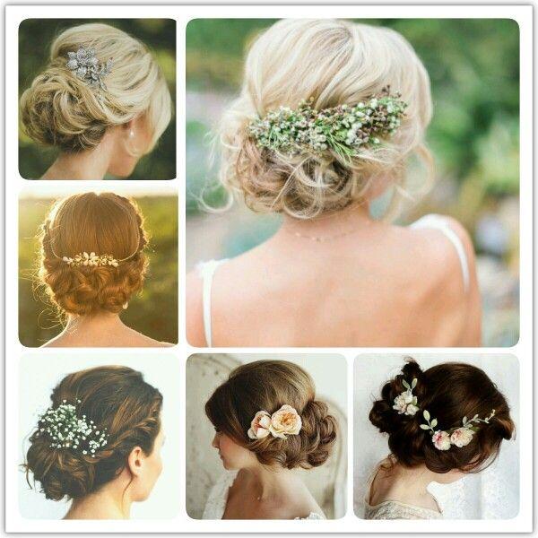 A nyári hőségben sok menyasszony dönt a feltűzött haj mellett. Íme egy kis inspiŕació, hogyan lehet az esküvői frizurákat még különlegesebbé tenni.  #hair #bride #hairstyle #wedding #inspiration #flower