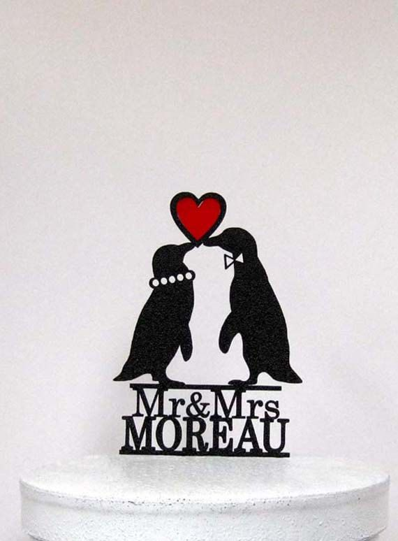 Personalized Wedding Cake Topper Penguins in by Plasticsmith