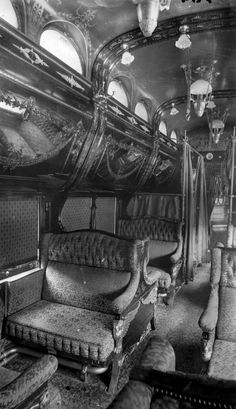 Oh what stories this train car could tell! Interior of Rococo period Pullman car. late 1800s
