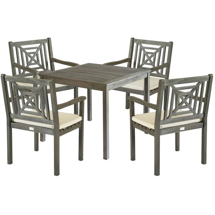 A motif of concentric squares adorned with a transitional X detail adorns the chairs of the 5-piece Del Mar outdoor dining set.