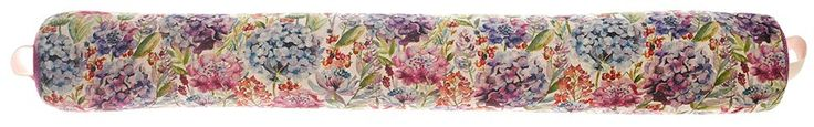 Hydrangea Draught Excluder By Voyage Maison. The draught excluders measure approximately 95 cm wide by 13 cm with storage handle. The draught excluders are filled with scented lavender and natural wheat and have a printed 53% linen and 47% cotton fabric cover.