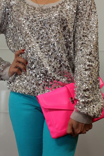 H&M sparkle sweater, bebe teal jeans, pink Aldo clutch. in love <3: Dreams Closet, Color Combos, Bright Color, Hot Pink, Color Jeans, Sequins Tops, Neon Color, Neon Pink, Teal Jeans