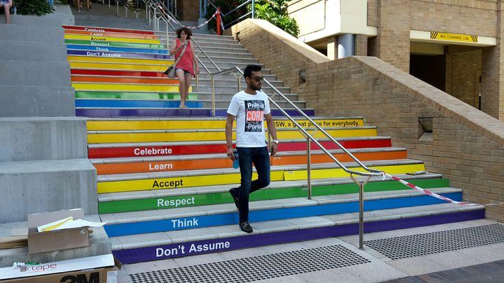 UNSW mardi gras rainbow walk mid-install!