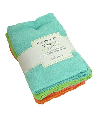 Love this Bright Flour Sack Towel - Set of Four on #zulily! #zulilyfinds