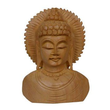 Amazon.com: Hindu Statues and Sculptures Meditating Buddha Bust Statue Wooden Decoration: Home & Kitchen