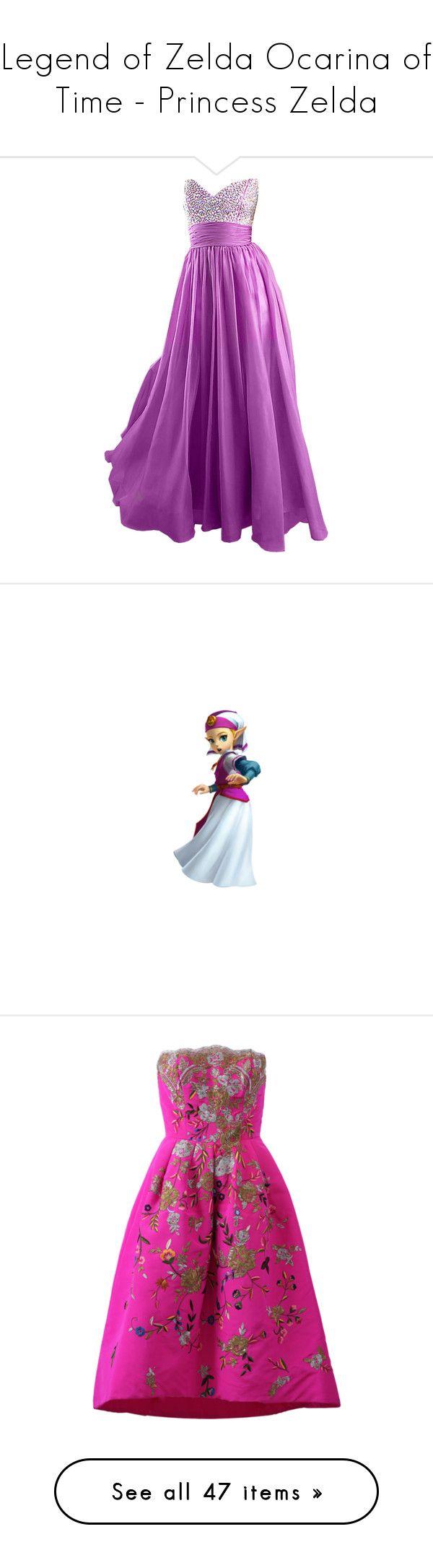 """Legend of Zelda Ocarina of Time - Princess Zelda"" by marielw97 ❤ liked on Polyvore featuring the legend of zelda, dresses, gowns, long dresses, vestidos, oscar de la renta, cocktail dresses, pink midi dress, embroidery dress and floral midi dress"