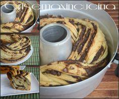 la torta angelica soffice dolce lievitato ripieno con nutella e gocce di cioccolato