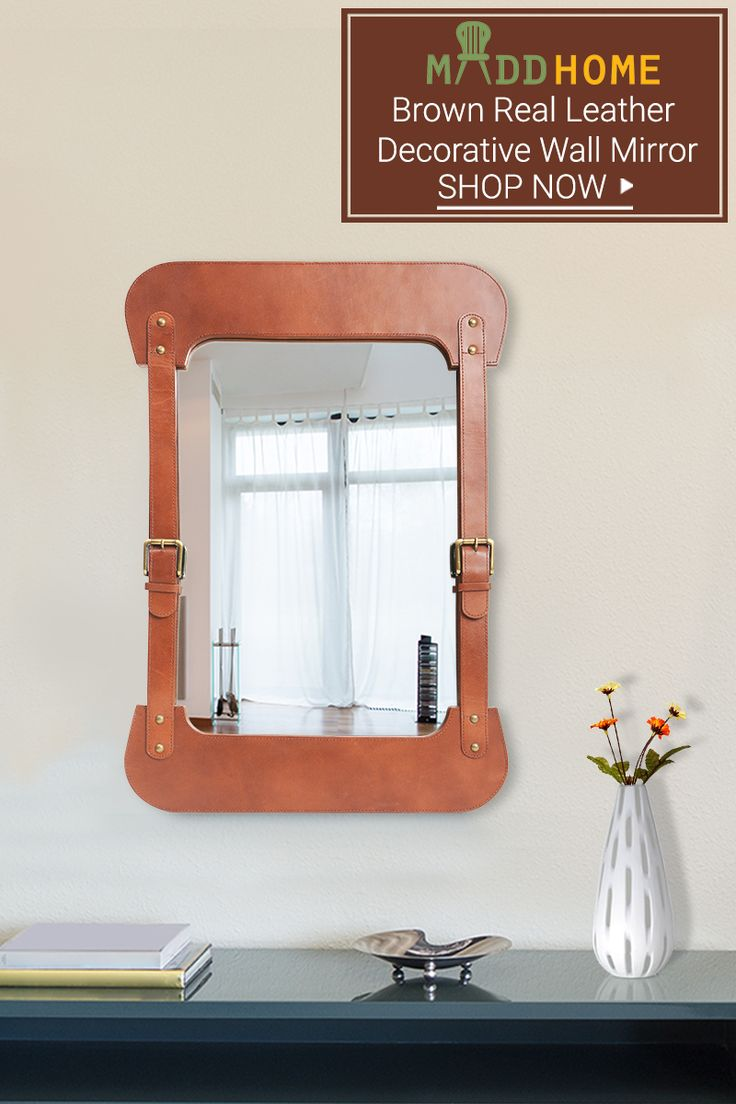Real Brown Leather Decorative Wall Mirror FOR Living Room.