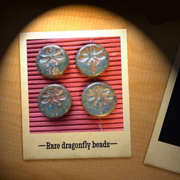 TOP SECRET! Rare dragonfly beads only in www.CzechBeadsExclusive.etsy.com #bead #beads #czech #dragonfly #glass #green #handmade