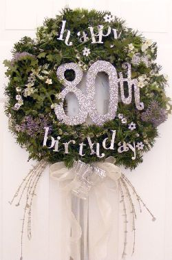 80th birthday wreath.  See more party and 80th birthday decorations at one-stop-party-ideas.com.