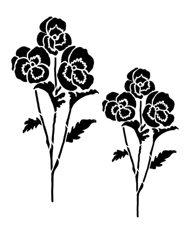 Pansy Flower Stencil In 2020 Flower Stencil Pansies Flowers Stencils