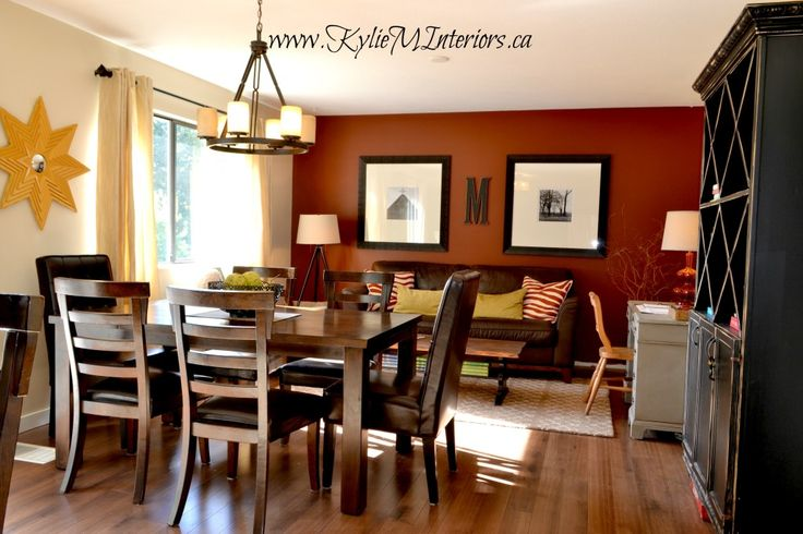 Burnt Orange Wall Paint Dining Room Contemporary With Aqua: Open Layout Dining Room And Kitchen