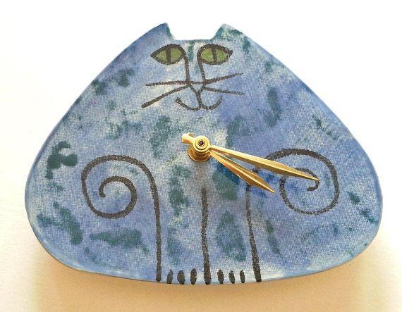 Wall Cat pottery clock handmade blues black triangle shape happy cat decor feline theme design unique kitty clay art