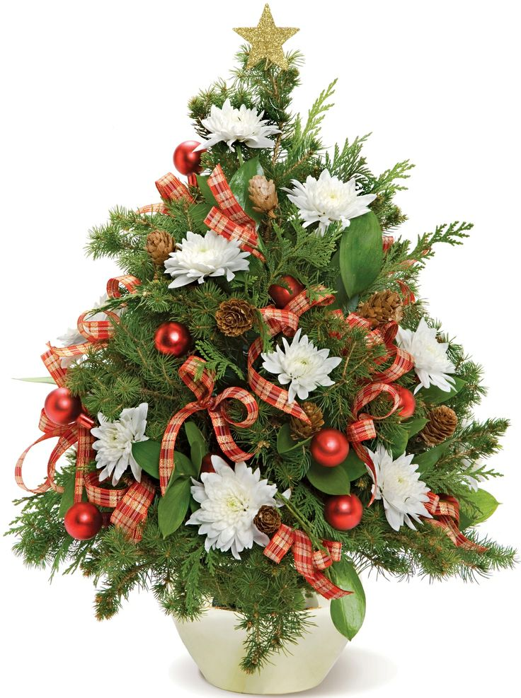 #ChristmasTree, created from fresh greens, decorated with festive ribbon, red balls and white cushion mums.