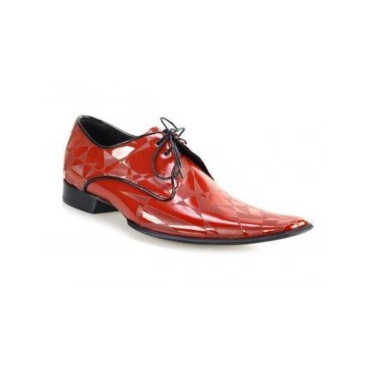 Pánske kožené extravagantné topánky červené PT042 - manozo.hu
