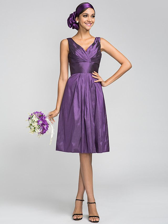 Lanting Bride® Knee-length Taffeta Bridesmaid Dress - A-line V-neck Plus Size / Petite with Draping / Criss Cross / Side Draping - GBP £61.59 ! HOT Product! A hot product at an incredible low price is now on sale! Come check it out along with other items like this. Get great discounts, earn Rewards and much more each time you shop with us!