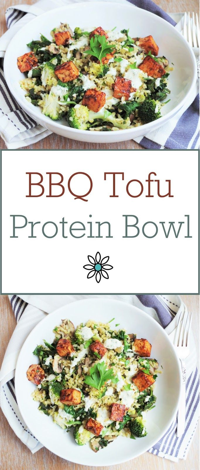BBQ Tofu Protein Bowl - A bulgur wheat base with garlic, herbs, mushrooms, kale and broccoli, topped with a creamy sunflower seed dressing and sticky BBQ tofu