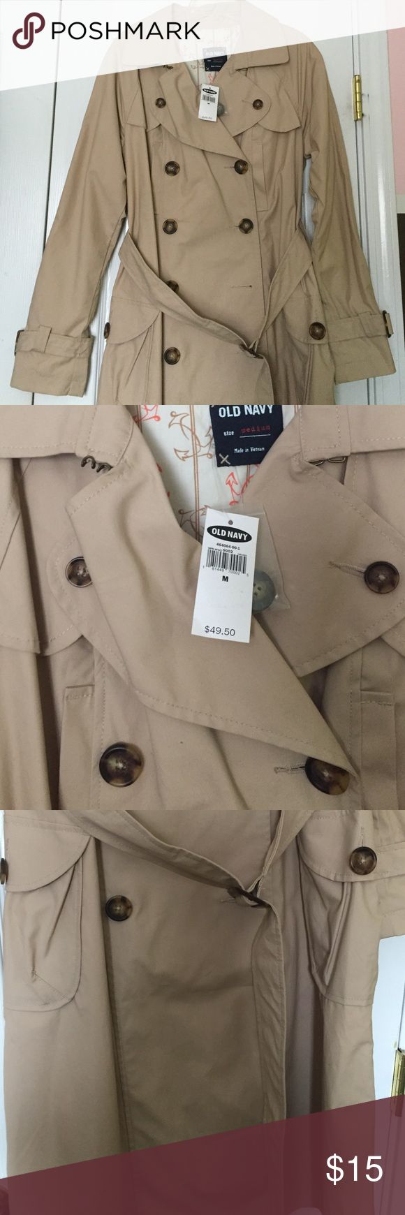 BRAND NEW khaki trench coat!! Khaki color, New with tags still attached! Old Navy Jackets & Coats Trench Coats