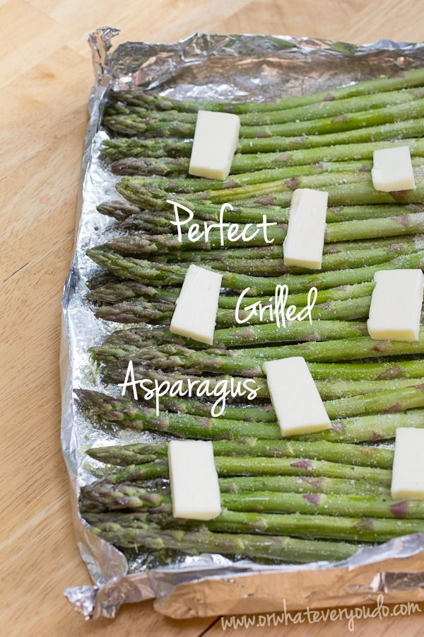 PERFECT GRILLED ASPARAGUS (4serv).... 1# asparagus-ends cut off or peeled/washed), ½tsp @ garlic salt+onion powder, 1Tbsp olive oil, 2Tbsp butter.... Fold up a little foil tray w/raised sides (or small baking pan w/sides). Cut off tough ends+wash well. Let dry+toss w/olive oil. Season evenly w/seasonings & lay in single layer on baking tray. Top w/pats of butter & grill over med heat till asparagus is tender-crisp, 6-8min. Toss lightly in butter melted in the bottom of the tray, & serve