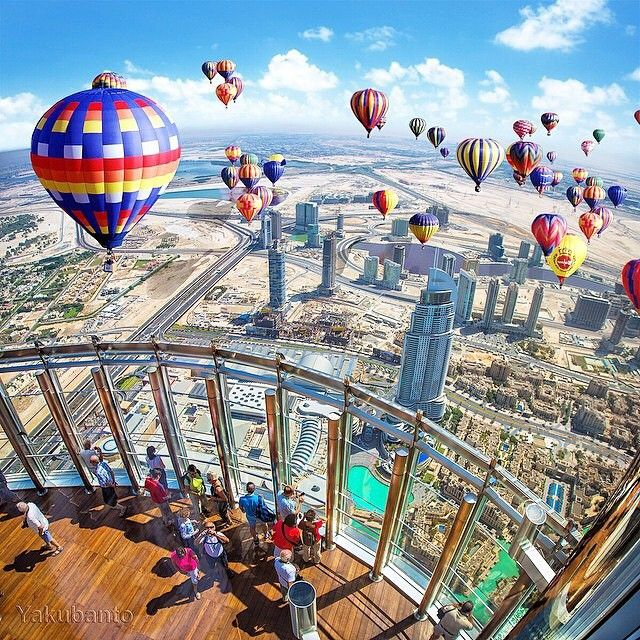 Hot air balloon in Dubai  Picture and edit by @Yakubanto by wonderful_places