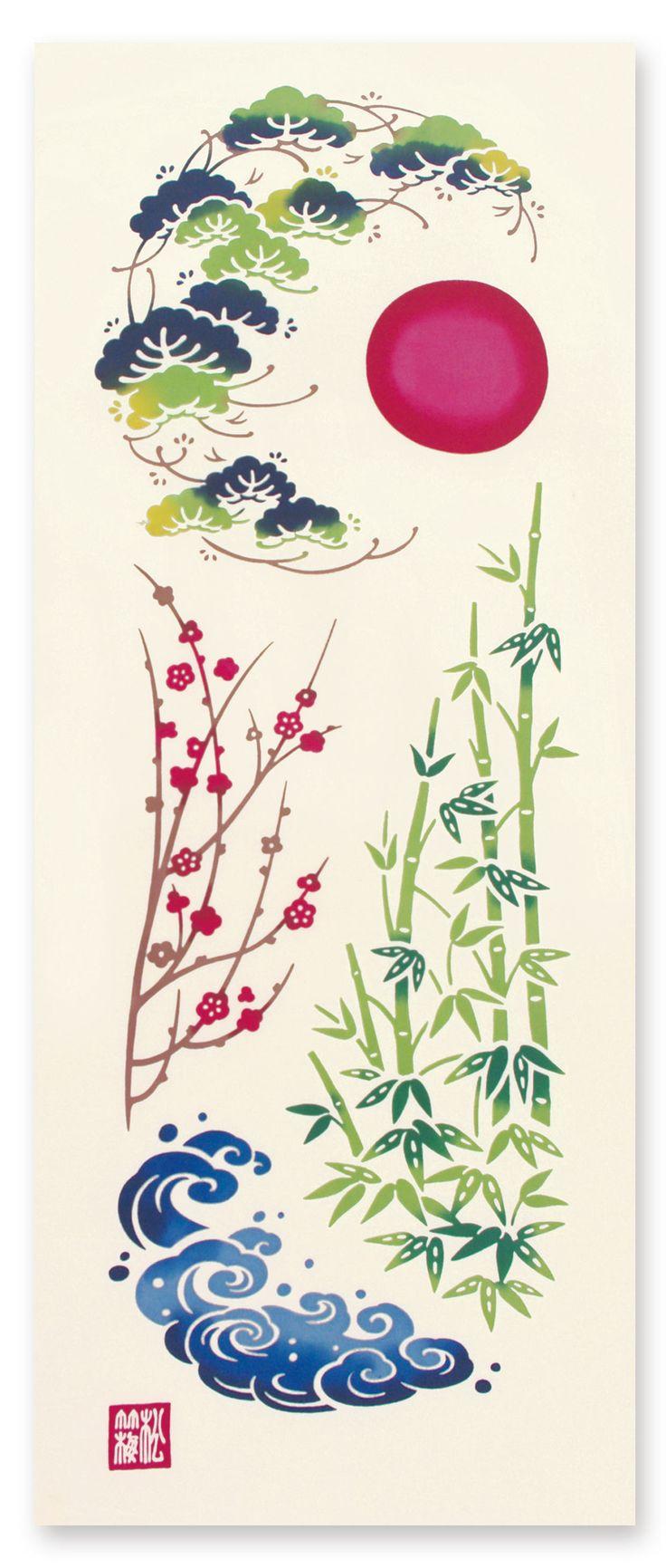 [材 質] 綿100% 〔特岡〕[サイズ] 約 36×90 cm 不老長寿の松、子孫繁栄の竹、 気高さと長寿の梅。 祝いに欠かせない松竹梅に 五穀豊穣の願いも込めて。