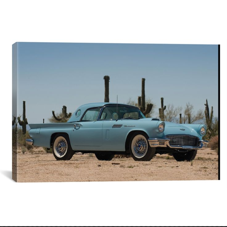 1957 Ford Thunderbird by Unknown Artist What a way to decorate! your favorite pieces of history on a nice canvas. A perfect way to match up your mancave, bedroom, garage, gameroom etc. Great Art Deser