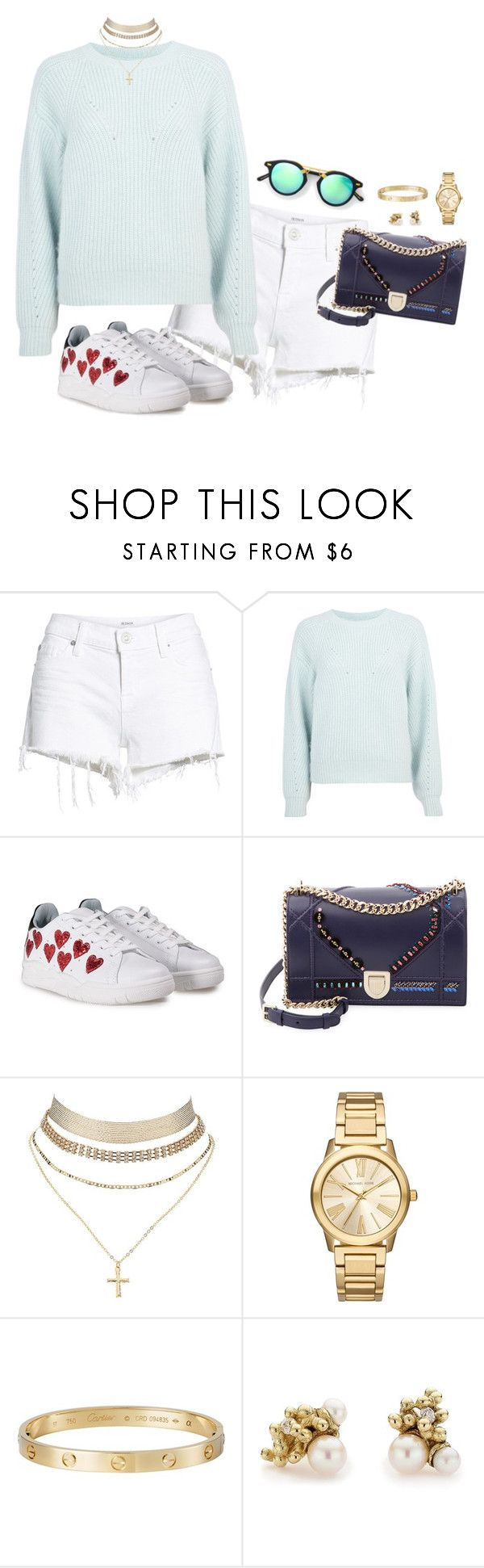 """Outfit"" by caa123 ❤ liked on Polyvore featuring Hudson Jeans, River Island, Chiara Ferragni, Christian Dior, Charlotte Russe, Michael Kors, Cartier, Ruth Tomlinson and Club Monaco"