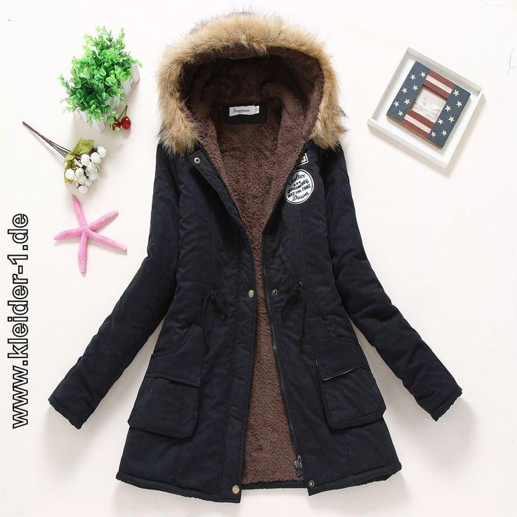 Gepolsterte Winterjacke Kapuzenmantel für Damen Schwarz