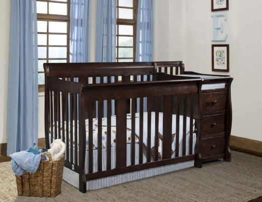Storkcraft 2 Piece Nursery Set   Portofino Convertible Crib Changer Combo  And Aspen 5 Drawer Dresser In Espresso