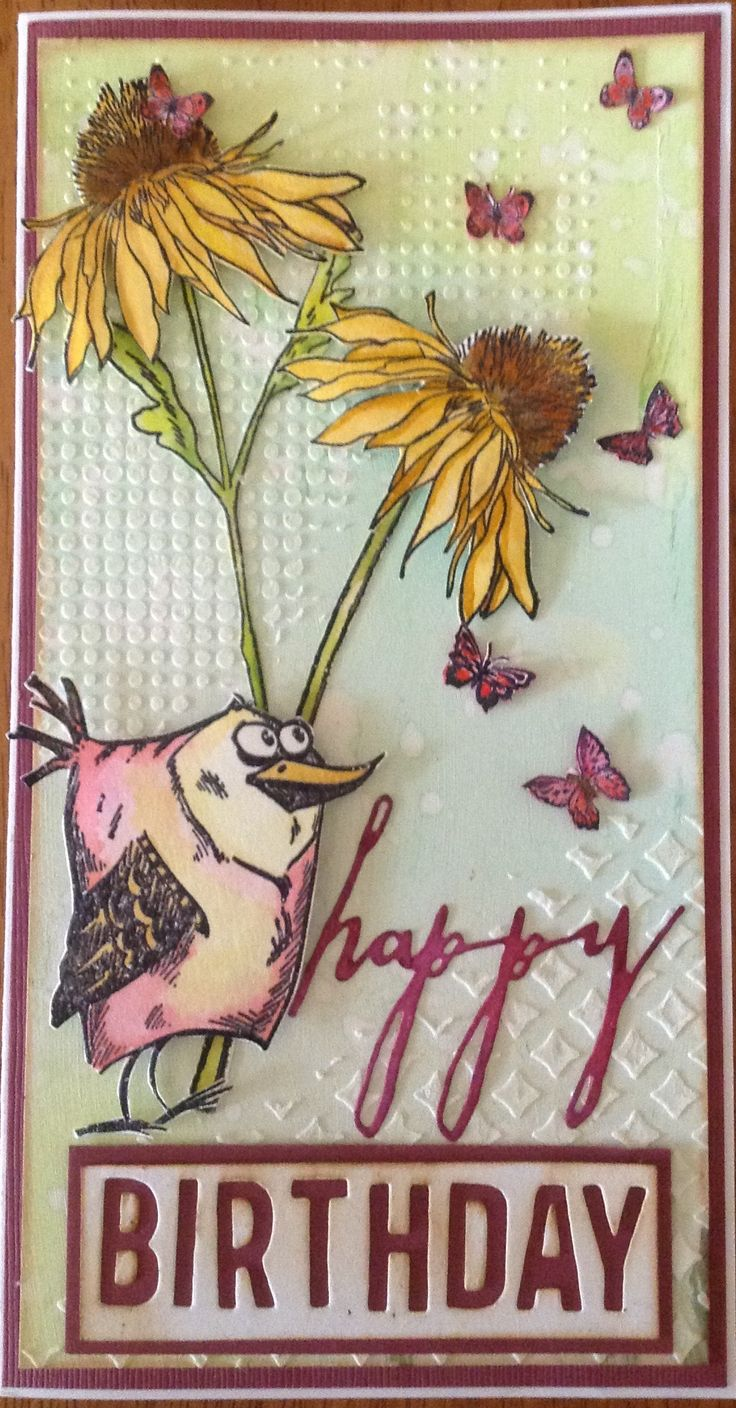 Made by Gail using Tim Holtz Crazy Bird and Flower Garden stamps, Alphanumeric and Greetings Thinlits dies. Background was made with Distress inks, stencils and Faber Castell Whipped Spackle, while the colouring of the stamps was done with Distress Markers.