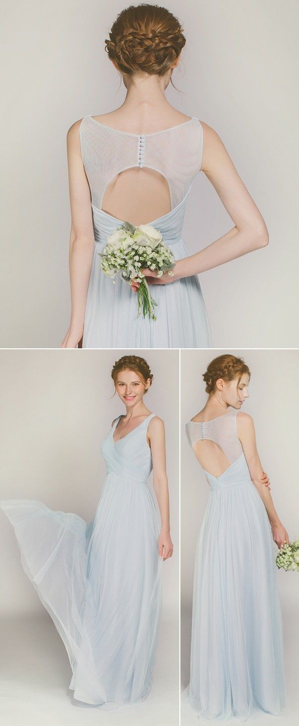 Which christmas gown ideas with holed - Long V Neck Keyhole Bridesmaid Dress Tbqp372